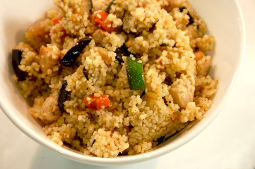 Quick meal: Couscous with sauteed eggplant, zucchini, carrots and a ...